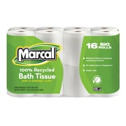 Marcal® 100% Recycled Bath Tissue, 2-Ply, White, 168 Sheets/Roll, 16 Rolls/Case (16466)