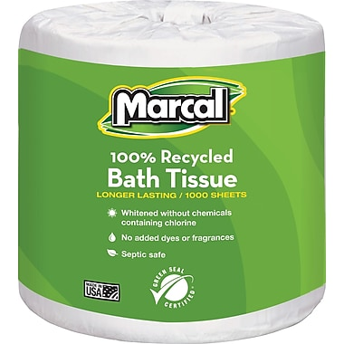 Marcal® 100% Recycled Bath Tissue, 1-Ply, 1,000 Sheets/Roll, 40 Rolls/Case (4415)