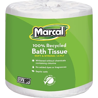 Marcal 100% Recycled  Bath Tissue, White, 2-Ply, 504 Sheets/Roll, 80 Rolls/Case (4580)