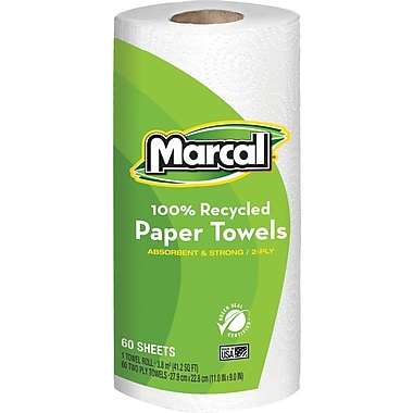 Marcal® 100% Recycled Perforated Roll Towels, 2-Ply, 60 Sheets/Roll, 15 Rolls/Case (6709-15)
