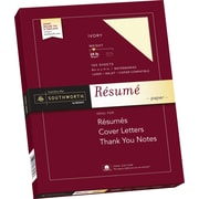 "SOUTHWORTH 100% Cotton Resume Paper, 8 1/2"" x 11"", 24 lb., Wove Finish, Ivory, 100/Box"