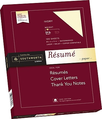southworth 100  cotton resume paper  8 1  2 u0026quot  x 11 u0026quot   24 lb