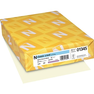 Neenah Paper Classic Crest® 8 1/2in. x 11in. 24 lbs. Smooth Writing Paper, Natural White, 500/Ream