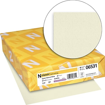 """CLASSIC® Laid Stationery Writing Paper, 8 1/2"""" x 11"""", 24 lb., Laid Finish, Natural White, 500/Ream (06531)"""