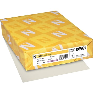 Neenah Paper Classic® 8 1/2in. x 11in. 24 lbs. Laid Writing Imaging Paper, Antique Gray, 500/Ream