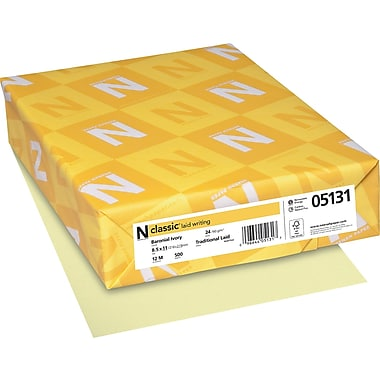 Neenah Paper Classic® 8 1/2in. x 11in. 24 lbs. Laid Writing Paper, Baronial Ivory, 500/Ream