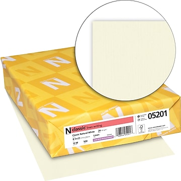 "Neenah Paper CLASSIC Linen Writing Paper, 8 1/2"" x 11"", 24 lb., Linen Finish, Natural White, 500/Ream (05201)"
