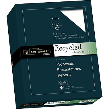 SOUTHWORT 25% Cotton Recycled Business Paper, 8 1/2
