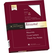 "SOUTHWORTH 100% Cotton Resume Paper, 8 1/2"" x 11"", 32 lb., Wove Finish, White, 100/Box"