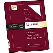 "Southworth 100% Cotton Resume Paper, 8.5"" x 11"", 32 lb., Wove Finish, White, 100 Sheets/Box (RD18CF)"