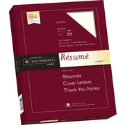"SOUTHWORTH 100% Cotton Resume Paper, 8 1/2"" x 11"", 32 lb., Wove Finish, Ivory, 100/Box"