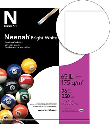 """""""""""NEENAH Bright White Cardstock 08-1/2"""""""""""""""" x 11"""""""""""""""" Bright White Smooth 250 sheets (91904/92904)"""""""""""" 496791"""