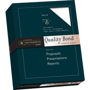 "SOUTHWORTH Quality Bond Paper, 8 1/2"" x 11"", 20 lb., Wove Finish, White, 500/Box"
