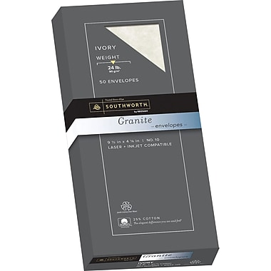 SOUTHWORTH Granite Envelopes, #10, 24 lb., Granite Finish, Ivory, 50/Box