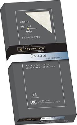 Southworth Granite Envelopes, #10, 24 lb., Ivory, 50/Box (P934-10L)