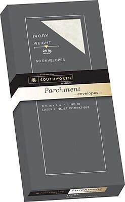 Southworth Parchment Envelopes, #10, 24 lb., Ivory, 50/Box (P984-10L/3/18)
