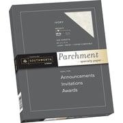 "SOUTHWORTH Parchment Specialty Paper, 8 1/2"" x 11"", 24 lb., Parchment Finish, Ivory, 100/Box"