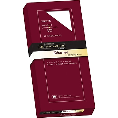 Southworth 100% Cotton Resume Envelopes, #10, 24 lb., Wove Finish, White, 50/Box (R14-10L)