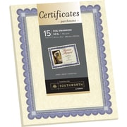 "SOUTHWORTH Foil Enhanced Parchment Certificates, 8 1/2"" x 11"", 24 lb., Parchment Finish, Ivory, 15/Pack"