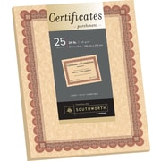 """SOUTHWORTH Parchment Certificates, 8 1/2"""" x 11"""", 24 lb., Parchment Finish, Copper, 25/Pack"""