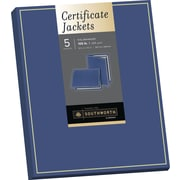 "SOUTHWORTH Certificate Jacket, Foil Enhanced, 9"" X 12"", 105 lb., Felt Finish, Navy, 5/Pack"