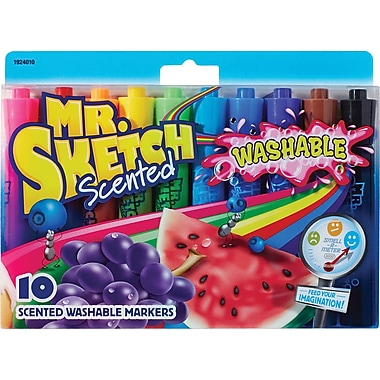 Mr. Sketch Scented Washable Markers, Chisel-Tip, Assorted Colours, 10/Pack