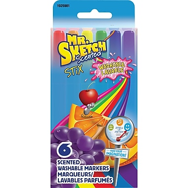 Mr. Sketch Scented Washable Markers, Fine-Tip, Assorted Colours, 6/Pack