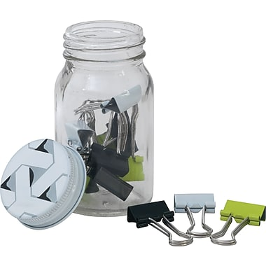 Paperchase Get Organized, Binder Clips In Jar, 1