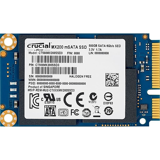 Crucial MX200 250 GB mSATA Solid State Drive