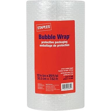 Staples® - Emballage à bulles*, rouleau de 12 po x 25 pi, 3/16 po d'épaisseur