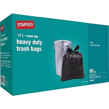Staples® Heavy-Duty Garbage Bags, Black, 26