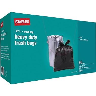 StaplesMD – Sacs à ordures robustes, noirs, 26 x 32,5 po, 90/pqt