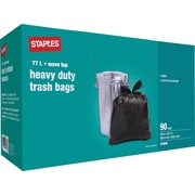 "Staples® Heavy-Duty Garbage Bags, Black, 26"" x 32.5"", 90-Pack"