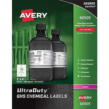 Avery UltraDuty GHS Chemical Labels for Laser Printers, Waterproof, UV Resistant, 2