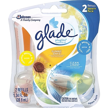 Glade PlugIns Scented Oil Warmer Air Freshener Refill, Linen & Sunny Days, 2/Pack