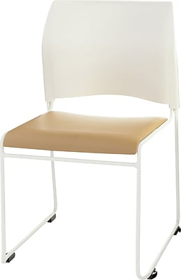 National Public Seating Stacking Chair, White with Beige Seat 4/Pack