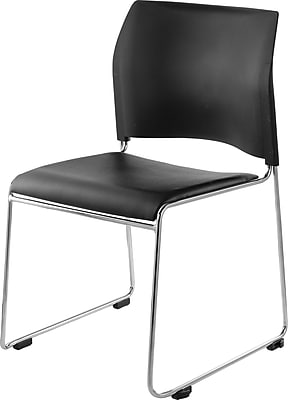National Public Seating Stacking Chair, Black 4/Pack