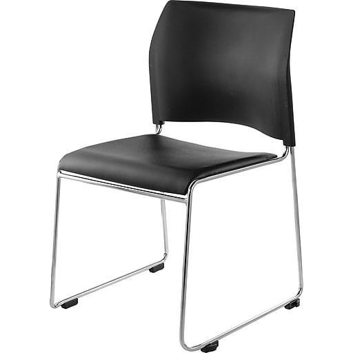 NPS #8710-11-10 Cafetorium Stack Chair, Black Vinyl Seat/Black Backrest - 4 Pack