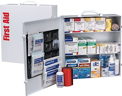 First Aid Only™ ANSI B+ Type I & II 3 Shelf Metal First Aid Cabinet with Medications for up to 100 People (90575)
