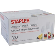 Staples® Plastic Cutlery, Assorted Forks, Knives & Spoons, White, 300/Box