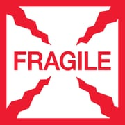 "Tape Logic® Labels, ""Fragile"", 4"" x 4"", Red/White, 500/Roll (SCL501)"
