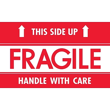 "tape logic® labels, ""fragile - this side up - hwc"", 3"" x 5"", red"
