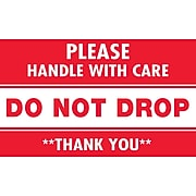 """Tape Logic Please Handle with Care Do Not Drop Staples® Shipping Label, 3"""" x 5"""", 500/Roll"""