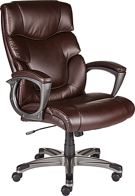 Staples 28360 Tarington Bonded Leather Managers Chair, Fixed Arms, Brown