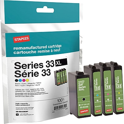 Staples® Remanufactured Inkjet Cartridge, Dell Series 33XL, Black, Cyan, Magenta, Yellow, Multi-Pack