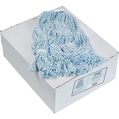 Four-Ply Floor-Finish Mop Heads, Medium, White/blue Stripes, 12/Ct