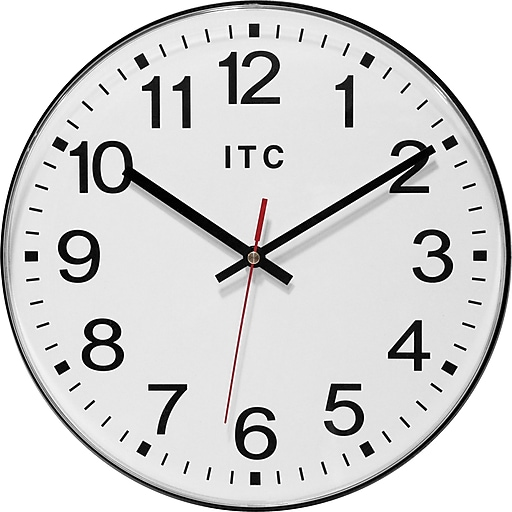 "Infinity Instruments 12"" Automatic Time Adjustment Wall Clock, Carnegie"
