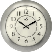 "Infinity Instruments 14.5"" Retro Diner Style Wall Clock, Berkeley Brushed Nickel"
