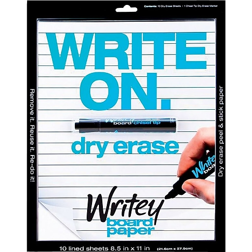 Writeyboard Dry-Erase Lines Sheets and Markers, 10 Sheets per Pad