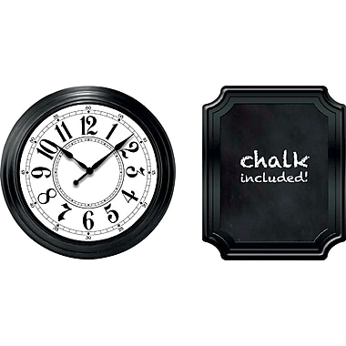 9 inch Wall Clock and Chalkboard Gift Set